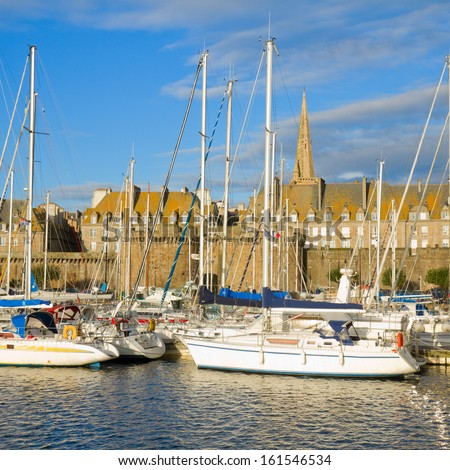 harbour in old town of  of  Saint Malo, Brittany, France - stock photo