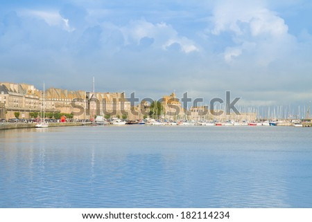 harbour in old town,   Saint Malo, Brittany, France - stock photo