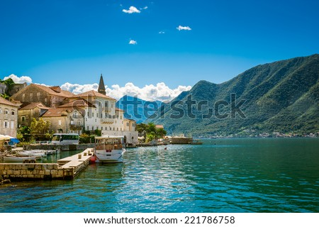 Harbour in Perast at Boka Kotor bay (Boka Kotorska), Montenegro, Europe. - stock photo