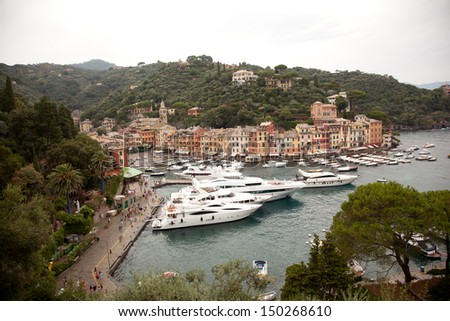 harbour of portofino at the ligurian coast in Italy - stock photo