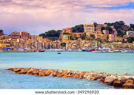 Harbour of Puerto Soller on the northern coast of Majorca on sunset, Spain - stock photo