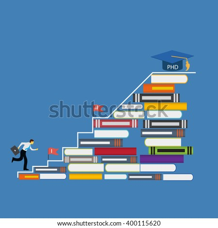 Hard and Long Way to the Doctor of Philosophy Degree PHD Illustration  - stock photo