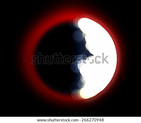 hard blurred red moon and abstract light background - stock photo