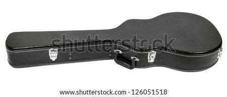 hard case for electric guitar, isolated on white - stock photo