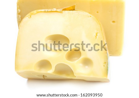 Hard cheese  close up on a white background
