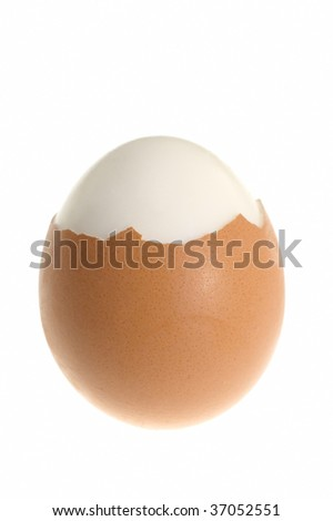 hard cooked egg partialy opened, vertical photo, isolated on white background