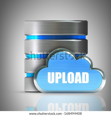 Hard disk and database icon with metallic cloud High resolution 3d  - stock photo