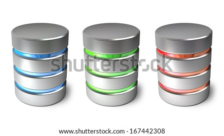 Hard disk and database icons isolated on white background. High resolution 3d - stock photo