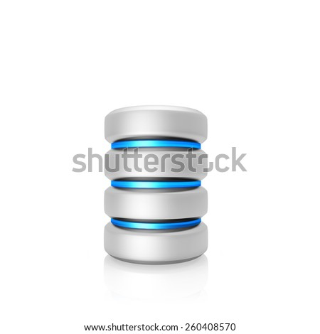 Hard disk and database , isolated on a white background - stock photo