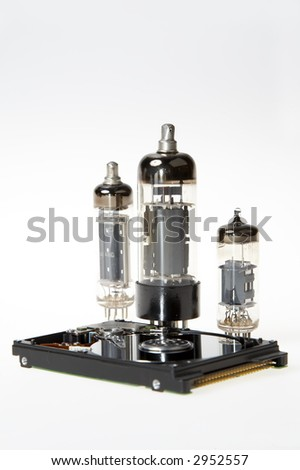 hard disk and tubes on white background