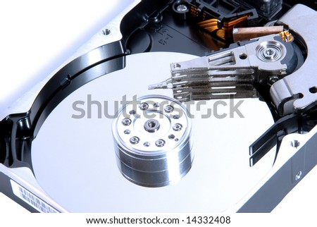 hard disk blue isolated on white with shadow