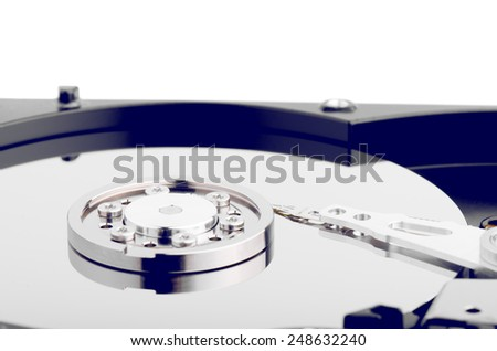 Hard Disk Close Up Isolated On White - stock photo
