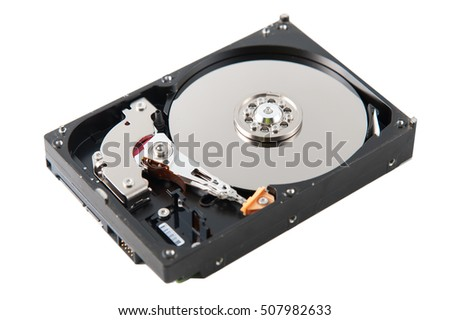 Hard disk close-up on white background