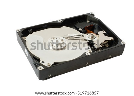 Hard disk drive (HDD) isolated on a white background. Detail of open HDD isolated on white background. Closeup of spindle, platters,reading/writing head, actuator arm, axis, and connector connections.