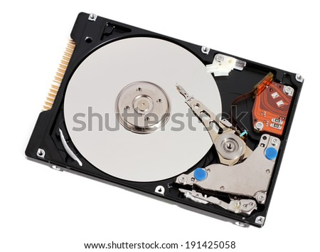 Hard disk drive HDD isolated on white background - stock photo