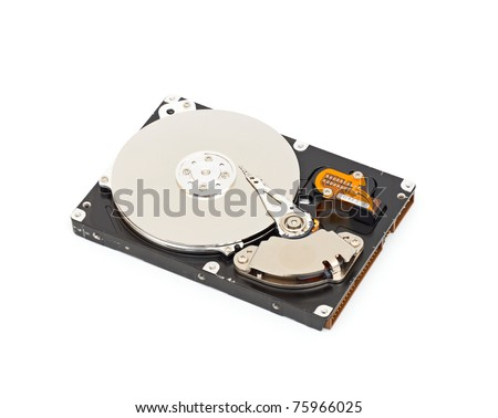 Hard disk drive HDD isolated on white background with soft shadow.