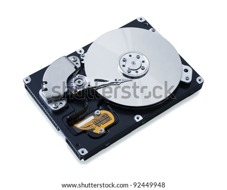 Hard disk drive HDD isolated on white background with soft shadow