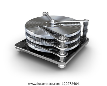 Hard disk drive icon isolated on white - stock photo