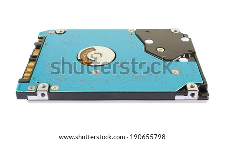 Hard disk drive isolated on a white background. - stock photo