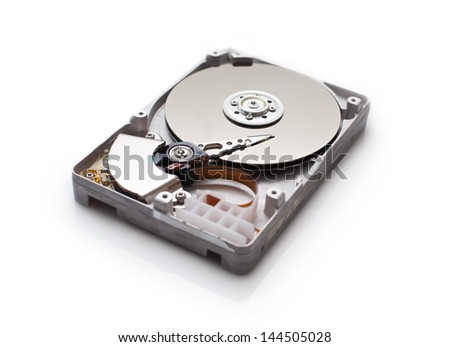 Hard disk drive isolated on white background - stock photo