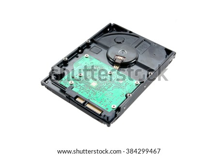 Hard disk drive isolated on white background