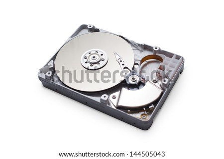 Hard disk drive isolated on white background with clipping path