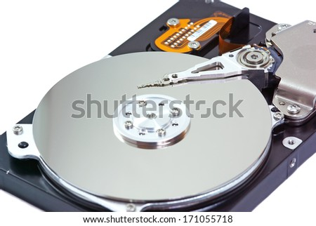 Hard disk drive opened isolated on white - stock photo