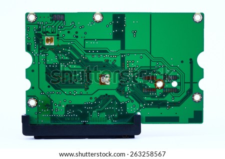 Hard disk drive over white background