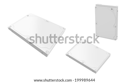 Hard Disk Drive white isolated on white background. Easy editable for your design.