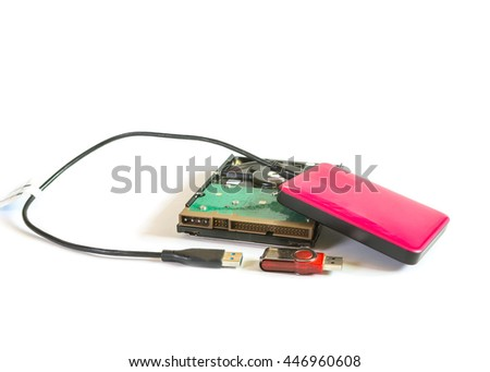 Hard disk /  flash drive /  External hard disk isolated on white background - stock photo