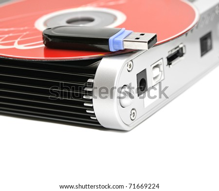 hard disk, flash memory and computer disk isolated on a white background - stock photo