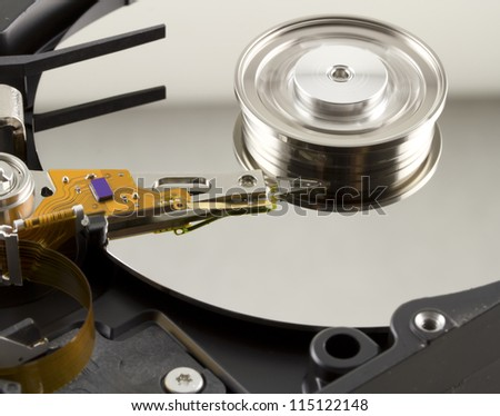 Hard disk from within with disk rotation