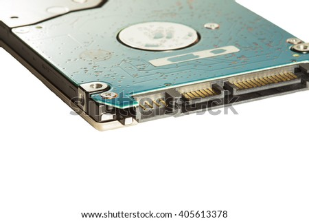 Hard disk of a laptop, isolated on white background