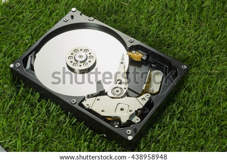 Hard disk on grass - harddisk drive is the data storage for the digital data where is in the your computer - stock photo