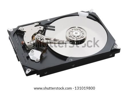 hard disk open isolated on white background - stock photo
