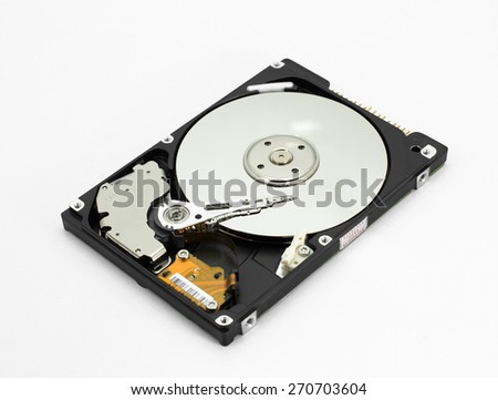 Hard disk read head closeup on a blue background