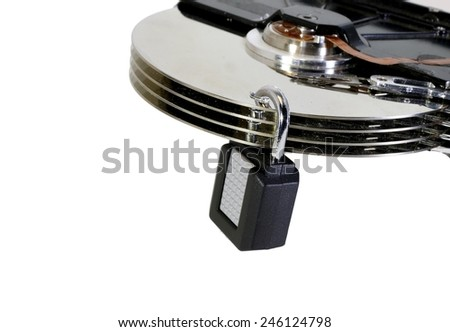 hard disk with a padlock for the protection of secret data - stock photo