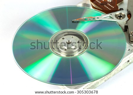 hard disk with cd dish on white background - stock photo