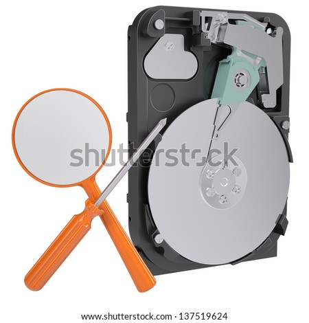 Hard drive, a screwdriver and a magnifying glass. Isolated render on a white background - stock photo