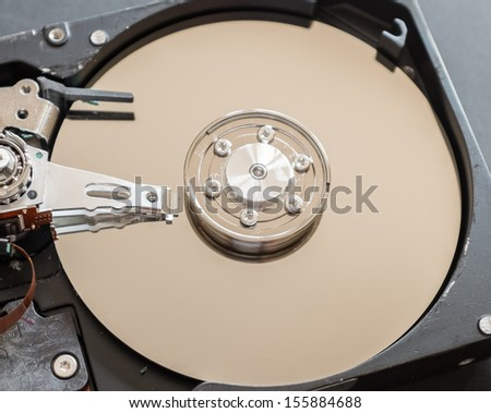 Hard Drive close up seeing inside - stock photo