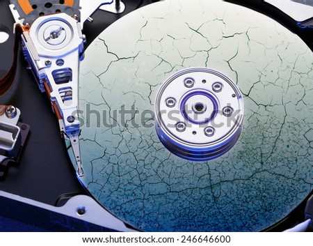 Hard drive computer disk inside in closeup  - stock photo