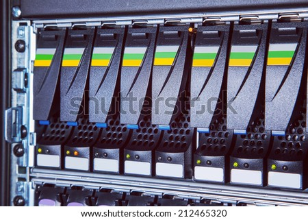 hard drive in the storage system in the data center - stock photo