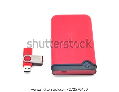 Hard drive. Red files storage isolated on white background