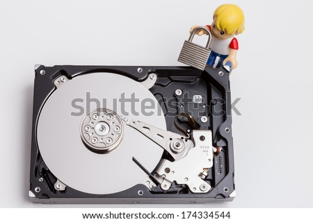 Hard drive security - stock photo