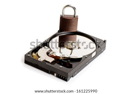 Hard drive with a lock isolated on white background - stock photo