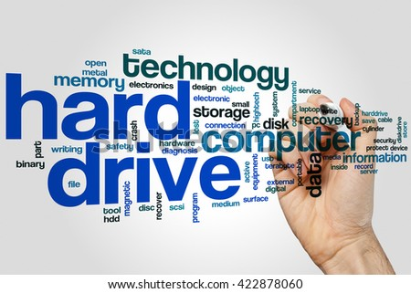 Hard drive word cloud concept with data storage related tags - stock photo