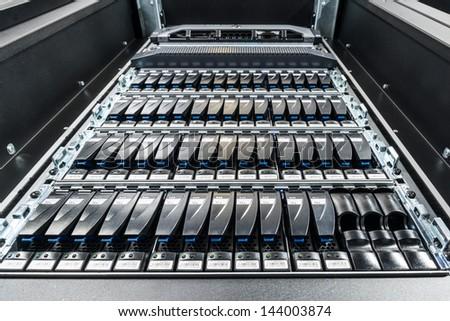 hard drives in data center - stock photo