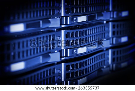 Hard drives in data center storing information.