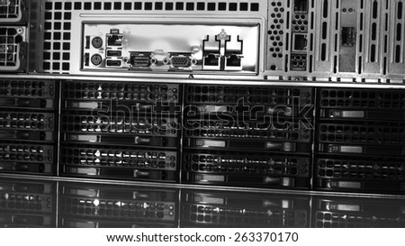 Hard drives in data center storing information. - stock photo