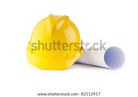 Hard hat and drawings isolated on white - stock photo